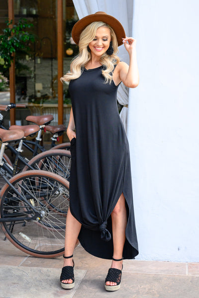 Let's Get Knotty Maxi Dress - Black women's casual tank maxi, Closet Candy Boutique 2