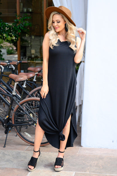 Let's Get Knotty Maxi Dress - Black women's casual tank maxi, Closet Candy Boutique 4
