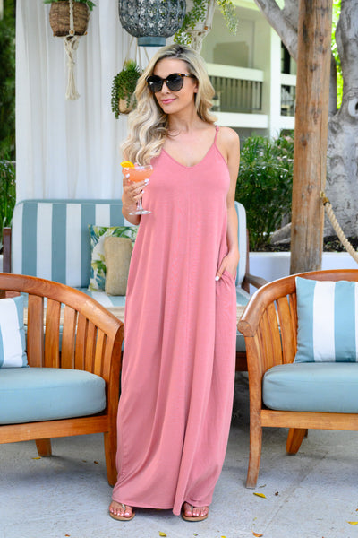 Something Simple Maxi Dress - Dusty Rose womens simple spaghetti strap long dress closet candy 4