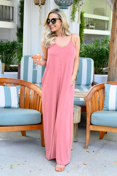 Something Simple Maxi Dress - Dusty Rose womens simple spaghetti strap long dress closet candy 1