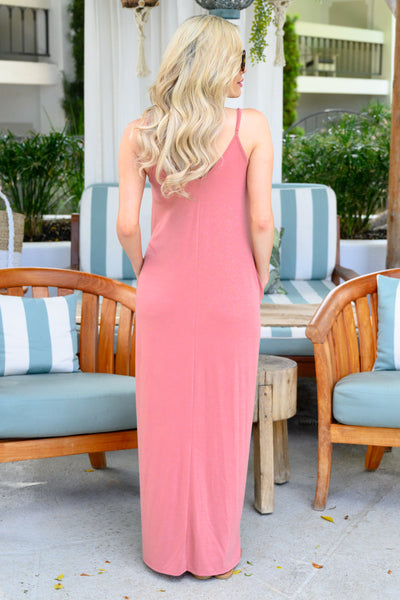 Something Simple Maxi Dress - Dusty Rose womens simple spaghetti strap long dress closet candy 3