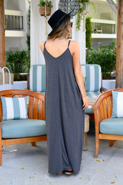 Something Simple Maxi Dress - Charcoal women's relaxed maxi dress, Closet Candy Boutique 3