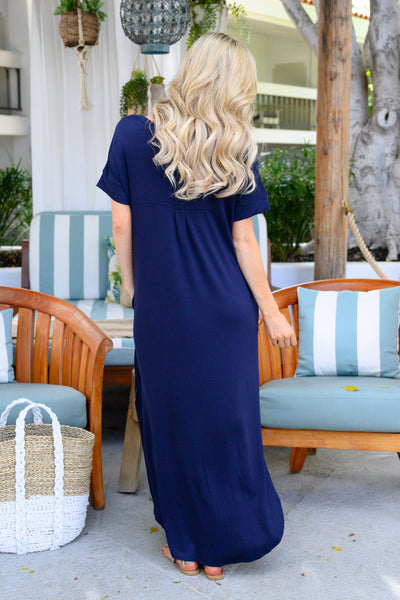 I'll Be By The Pool Maxi Dress - Navy women's oversize t-shirt long dress, Closet Candy Boutique 3