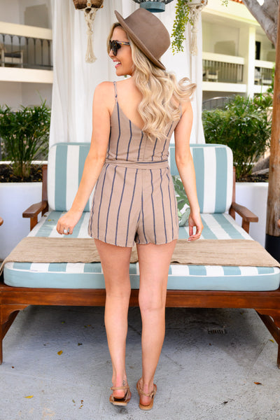 Everybody Talks Striped Romper - Taupe women's button-up spaghetti strap romper, Closet Candy Boutique 3
