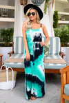 CCB Outside the Lines Tie Dye Maxi Dress - Teal womens trendy comfortable colorful long dress closet candy front