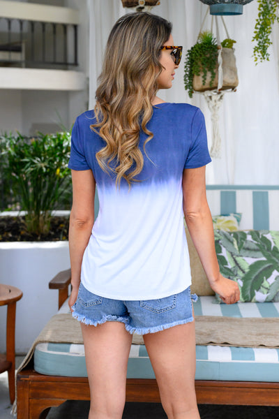 High Tides Ombre Top - Navy & white women's dip-dyed pocket tee, Closet Candy Boutique 3