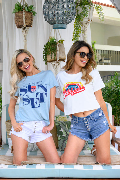 """California"" Cropped Tee - Ivory womens summer crop top graphic print t-shirt closet candy 2girls"