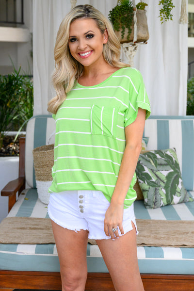 Bright Idea Striped Top - Lime womens trendy oversized neon shirt closet candy front
