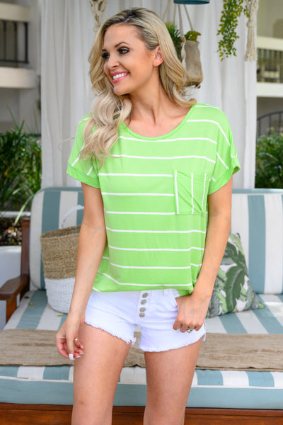 Bright Idea Striped Top - Lime womens trendy oversized neon shirt closet candy front2
