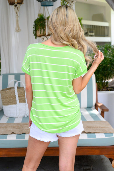 Bright Idea Striped Top - Lime womens trendy oversized neon shirt closet candy back