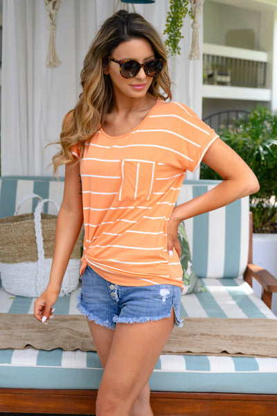 Bright Idea Striped Top - Creamsicle womens relaxed t-shirt neon closet candy side