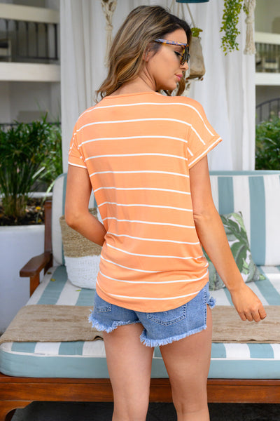 Bright Idea Striped Top - Creamsicle womens relaxed t-shirt neon closet candy back