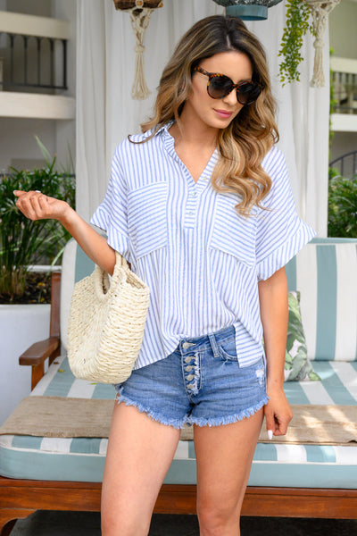 The Suite Life Striped Top - Navy women's short sleeve blouse closet candy front