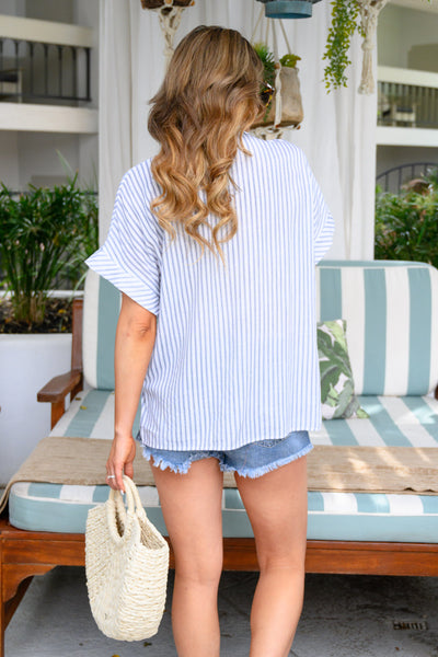 The Suite Life Striped Top - Navy women's short sleeve blouse closet candy back