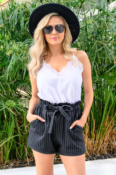 Wake & Slay Striped Shorts - Black women's pinstripe tie belt shorts, Closet Candy Boutique 3
