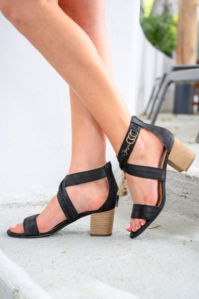 Kyla Heeled Sandal - Black women's strappy heels, Closet Candy Boutique 1