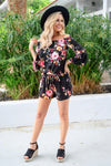 Sweet For The Summer Romper - Black women's floral print off the shoulder romper, Closet Candy Boutique 2