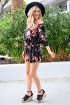 Sweet For The Summer Romper - Black women's floral print off the shoulder romper, Closet Candy Boutique 3