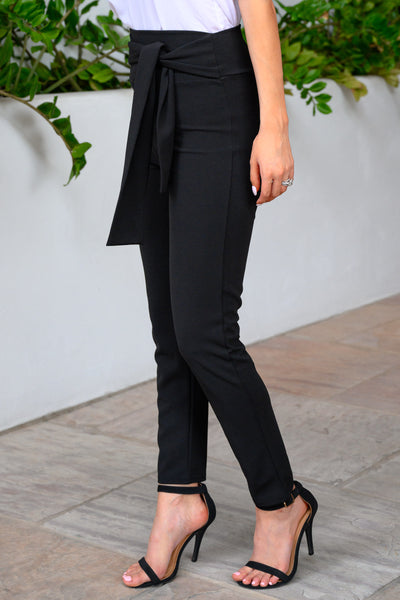 CEO Chic High-Waisted Pants - Black women's stretchy work pants with tie-belt, Closet Candy Boutique 2