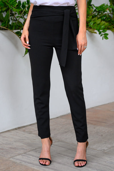 CEO Chic High-Waisted Pants - Black women's stretchy work pants with tie-belt, Closet Candy Boutique 4
