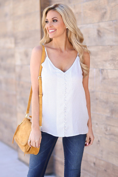 Sail Away Tank Top - Ivory polka dot tank top, front, Closet Candy Boutique