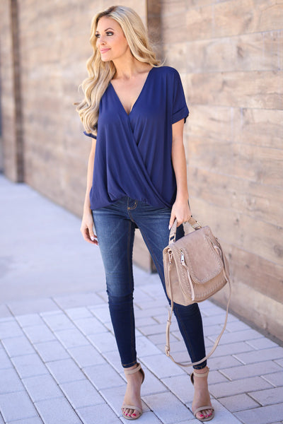 Even Better Top - Navy v-neck surplice draped top, outfit, Closet Candy Boutique 2