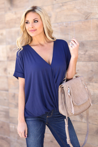 Even Better Top - Navy v-neck surplice draped top, front, Closet Candy Boutique 1