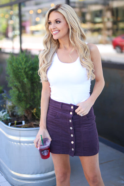 Perfect Tonight Corduroy Skirt - Plum button up corduroy skirt, front, Closet Candy Boutique