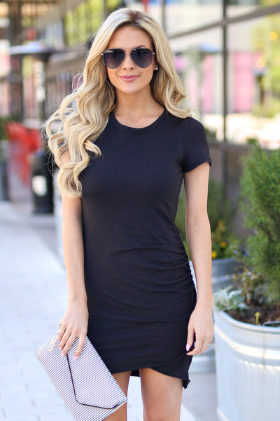 Nothing Better T-Shirt Dress - Black round neckline short sleeve fitted dress, Closet Candy Boutique 1