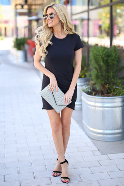 Nothing Better T-Shirt Dress - Black round neckline short sleeve fitted dress, Closet Candy Boutique 3