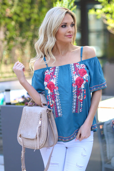 Emerald City Top - Teal off the shoulder floral embroidered top, front, Closet Candy Boutique