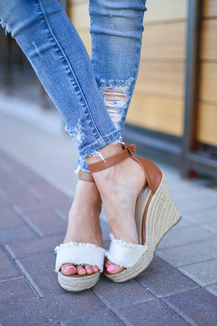 Miya Fringe Wedges - Natural peep toe wedges, side, Closet Candy Boutique