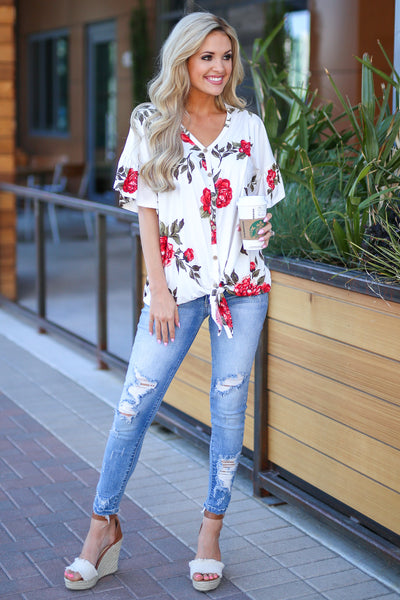 Pretty As A Peony Top - Ivory floral print top, front, Closet Candy Boutique