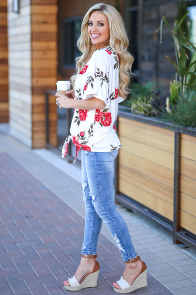 Pretty As A Peony Top - Ivory floral print top, side, Closet Candy Boutique