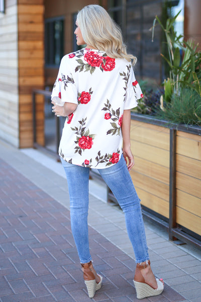 Pretty As A Peony Top - Ivory floral print top, back, Closet Candy Boutique