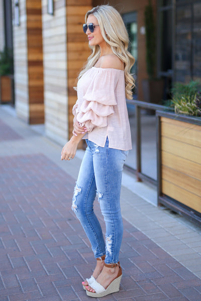 Little Crush Top - Blush off the shoulder ruffle sleeve top, side, Closet Candy Boutique