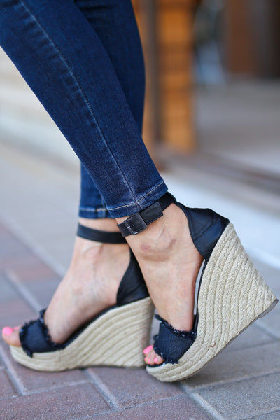 Miya Fringe Wedges - Black peep toe wedges, side, Closet Candy Boutique
