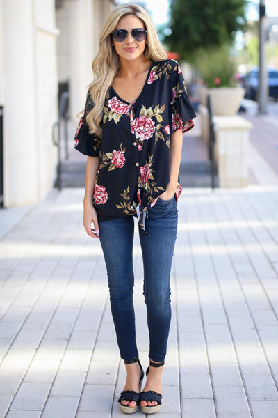Pretty As A Peony Top - Black v-neck floral print top, outfit, Closet Candy Boutique