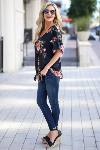 Pretty As A Peony Top - Black v-neck floral print top, side, Closet Candy Boutique