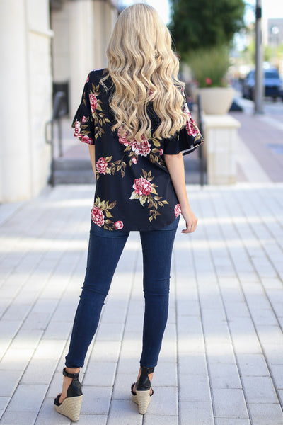 Pretty As A Peony Top - Black v-neck floral print top, back, Closet Candy Boutique