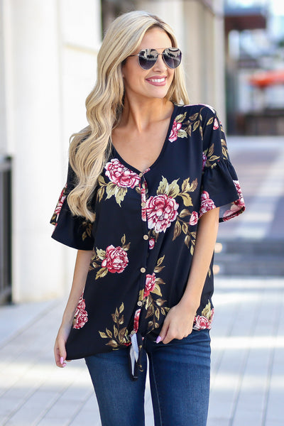 Pretty As A Peony Top - Black v-neck floral print top, front, Closet Candy Boutique