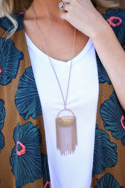Half Moon Necklace - Gold fringe half moon necklace, Closet Candy Boutique