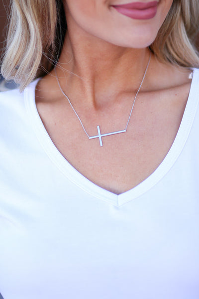 Take It to the Cross Necklace - Silver small cross necklace, Closet Candy Boutique