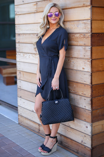 The Jennifer Bag - Black textured vegan leather satchel purse, outfit, Closet Candy Boutique