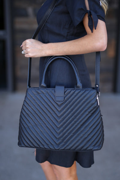 The Jennifer Bag - Black textured vegan leather satchel purse, back, Closet Candy Boutique