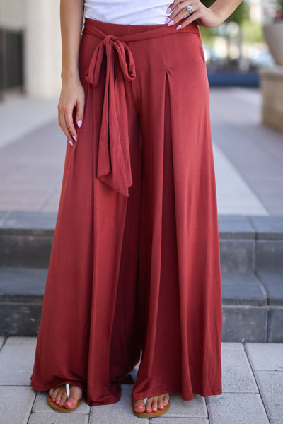 Dream Chaser Pants - Marsala palazzo pants, front, Closet Candy Boutique