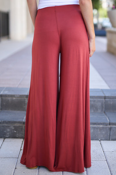 Dream Chaser Pants - Marsala palazzo pants, back, Closet Candy Boutique