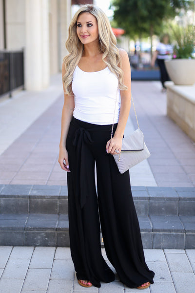 Dream Chaser Pants - Black palazzo pants, cute outfit, Closet Candy Boutique