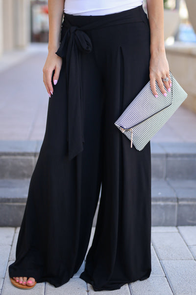 Dream Chaser Pants - Black palazzo pants, front, Closet Candy Boutique