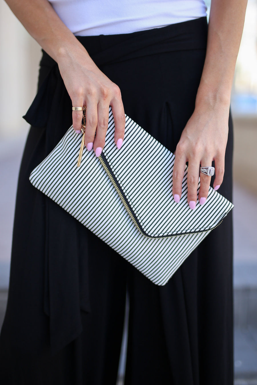 Sydney Clutch - Black & White stripe envelope clutch purse, front, Closet Candy Boutique